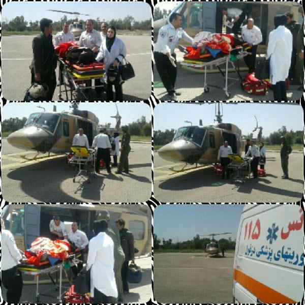 نجات جان بیمار 50 ساله با تلاش امدادگران اورژانس هوایی دزفول+عکس