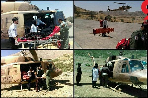 انتقال سه بیمار در دو پرواز هلی کوپتر اورژانس+ عکس
